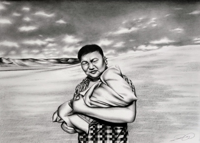 Mongolia Portrait Landscape drawing by Ling McGregor